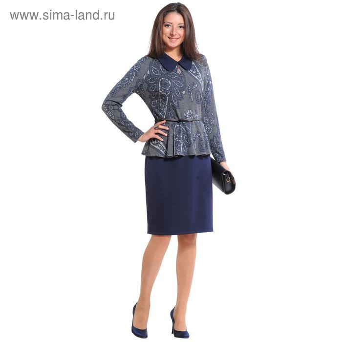 Платье женское 4011, размер 44, рост 164 см, цвет темно-синий/серый/принт
