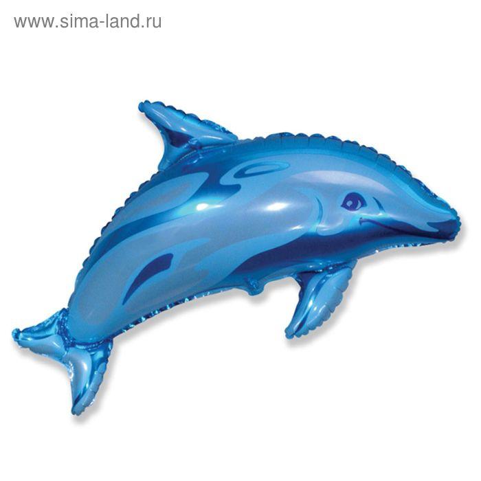 """Шар фольгированный 30"""" """"Дельфин"""", цвет голубой"""