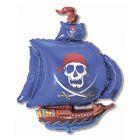 """Шар фольгированный 12"""" """"Корабль пиратский"""" для палочки, цвет синий"""