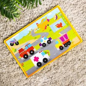 Развивающий коврик-пазл «Транспорт», 28 элементов, цвета МИКС