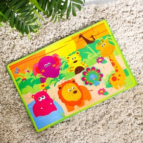 Развивающий коврик-пазл «Зоопарк», 28 элементов, цвета МИКС