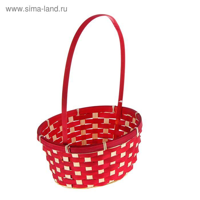 Корзина плетёная красная, бамбук