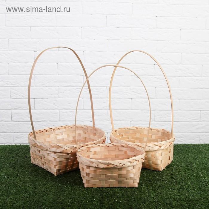 Набор корзин плетеных, натуральный цвет, бамбук, 3 шт