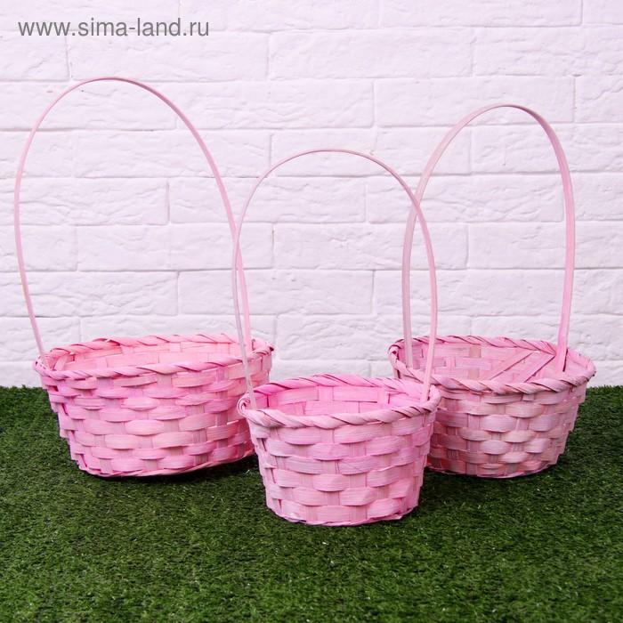 Набор корзин плетёных, светло-розовых, бамбук, 3 шт.