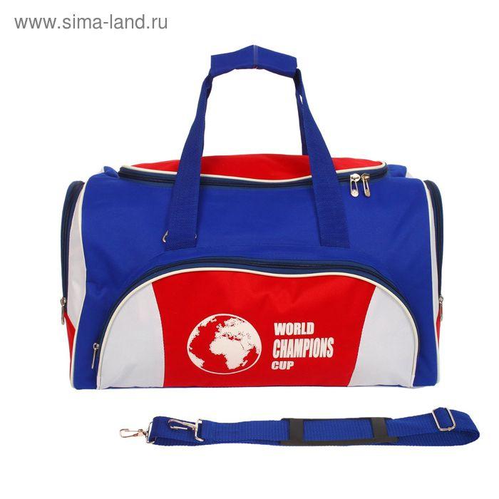 Сумка спортивная на молнии, 2 отдела, 3 наружных кармана, серый/голубой