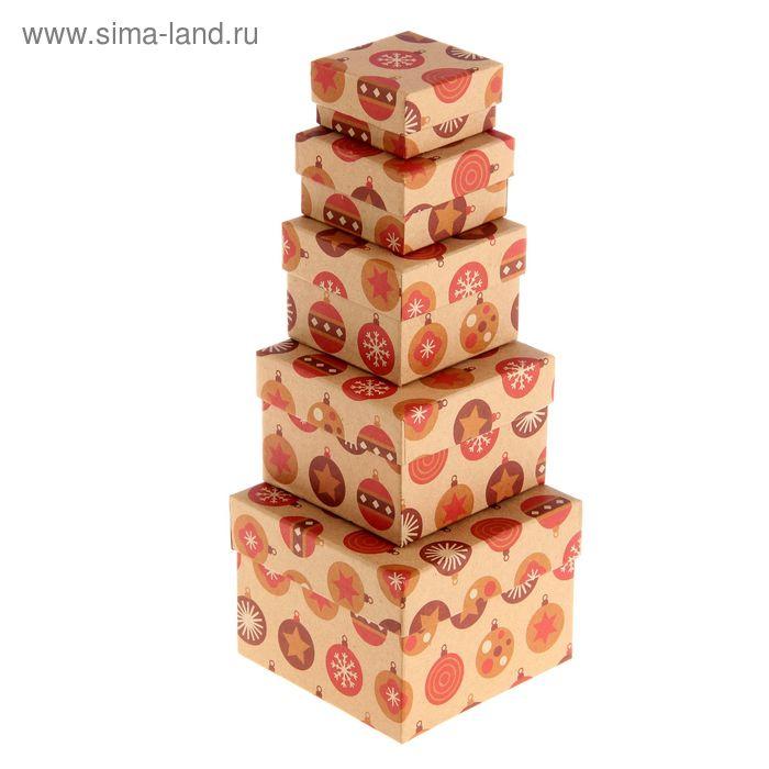 """Набор коробок 5 в 1 """"Елочные шары коричневые крафт"""""""