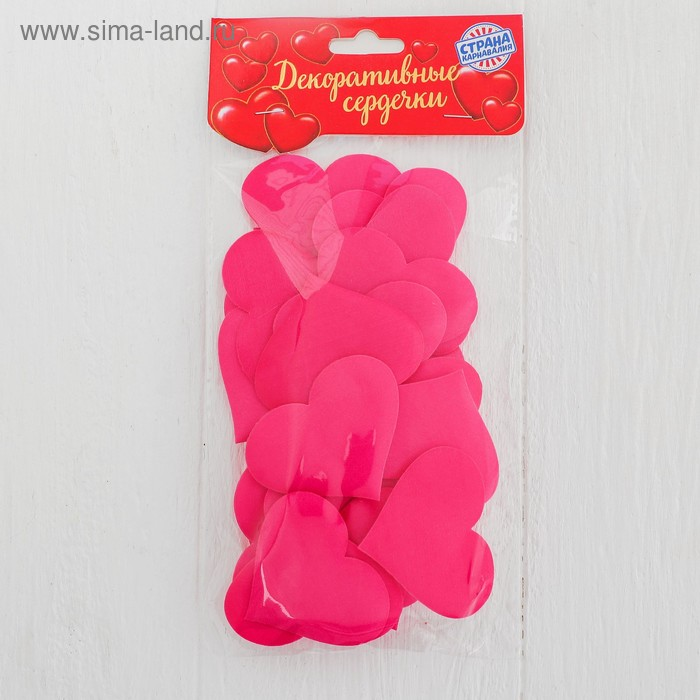 Сердечки декоративные, набор 25 шт., 5 см, цвет фуксия
