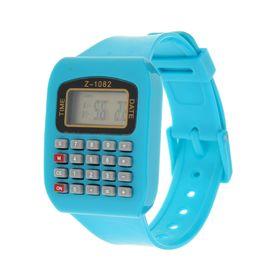 Часы наручные жен. электронные, с силик/ремешком, циферблат квадрат голубые с калькулятором 22*1,5*4