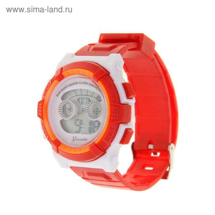 Часы наручные жен. электронные, с силик/ремешком, циферблат круг оранжевые с белым 22*1,5*4 см. 11
