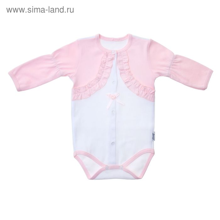 Боди для девочки, возраст 9 месяцев, цвет белый/розовый (арт. FF-243)