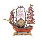 Часы светильник Кораблик коричневая корма 6 парусов, 34*34*8 см.