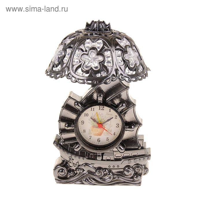Часы светильник Кораблик плафон в цветочек цвет хром 24,5*14*13 см.