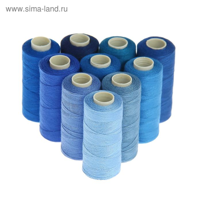 Набор ниток, 10шт, 40/2, 300м, оттенки синего
