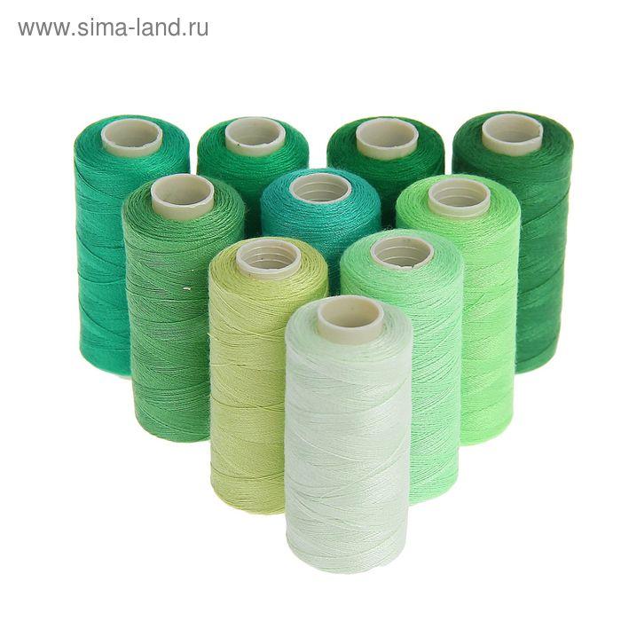 Набор ниток, 10шт, 40/2, 300м, оттенки зелёного