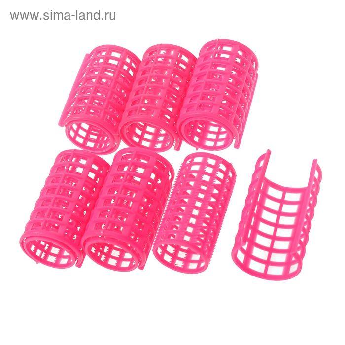Бигуди пластиковые с фиксатором, d=3,3см, 7см, 6шт, цвет МИКС