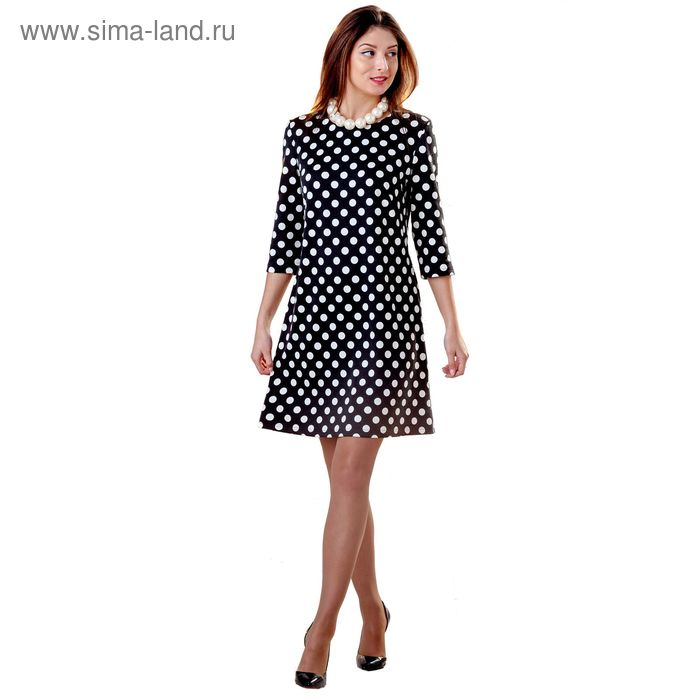 Платье женское 4341, размер 48, рост 164 см, цвет черный/белый горох