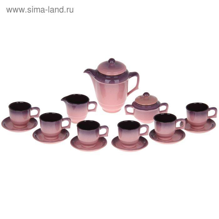 """Сервиз кофейный """"Градиент"""", 15 предметов (чашка 200 мл, чайник 500 мл, сливочник 200 мл)"""