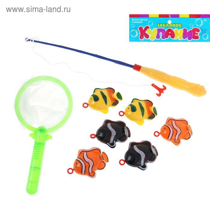 """Рыбалка """"Весёлые рыбки"""" 8 предметов: 1 удочка (дл.26см), 1 сачок, 6 рыбок"""