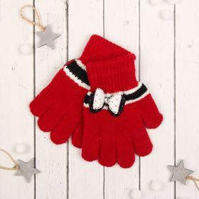 """Перчатки с шерстью детские Collorista """"Бант"""", размер 18, цвет бордовый"""