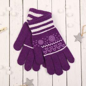 """Перчатки с шерстью молодёжные Collorista """"Цветы и сердечки"""", размер 18, цвет фиолетовый"""