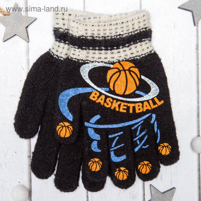 """Перчатки с шерстью детские Collorista """"Баскетбол"""", размер 14, цвет чёрный"""