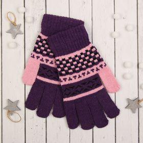 """Перчатки с шерстью молодёжные Collorista """"Домино"""", размер 20, цвет фиолетовый"""