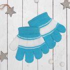 Перчатки детские Collorista, размер 12, цвет голубой/белый