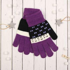 """Перчатки с шерстью молодёжные Collorista """"Бантики"""", размер 20, цвет фиолетовый"""