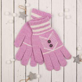 """Перчатки с шерстью молодёжные Collorista """"Кружевной узор"""", размер 20, цвет сиреневый"""