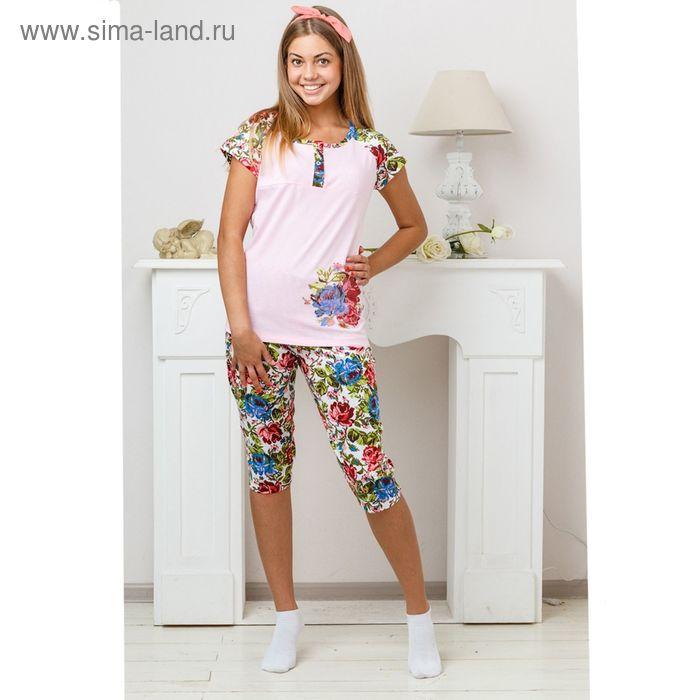 Комплект женский (футболка, бриджи) 8229 розовый. размер 46, кулирка