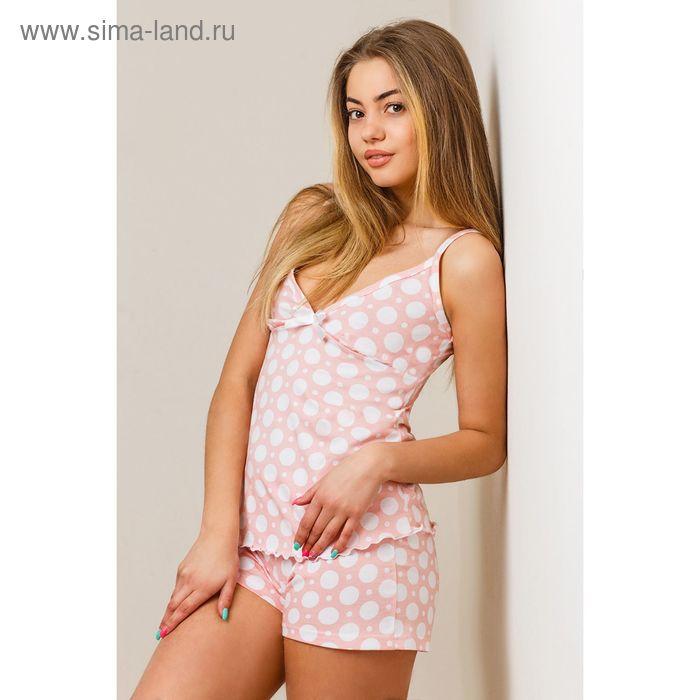 Комплект женский (топ, шорты) 8394 белый, размер 44, кулирка
