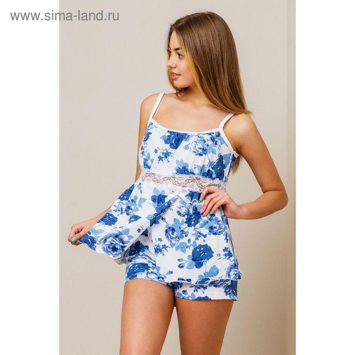 Комплект женский (топ, шорты) 8391 белый, размер 48, кулирка