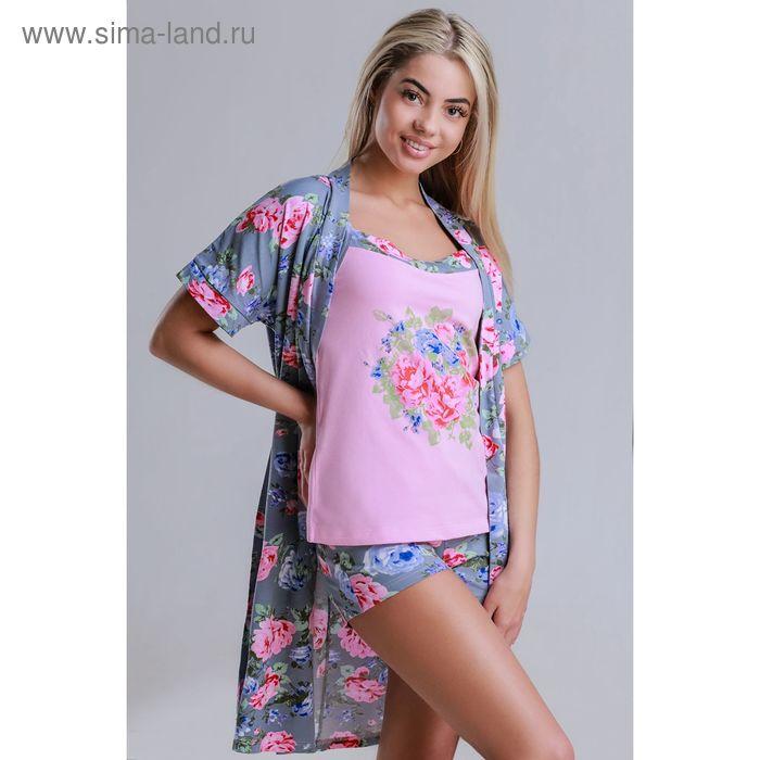 Комплект женский (халат, топ, шорты) 8224 серый, р-р 50 фуллайкра