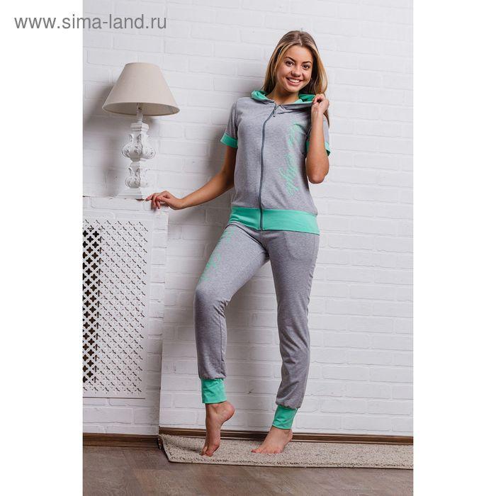 Комплект женский (кофта, брюки) 8312 серый меланж/зеленый, р-р 48 меланж/фуллайкра