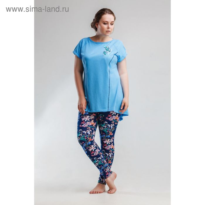 Комплект женский (футболка, бриджи) 8446. р-р 52 флам/фуллайкра
