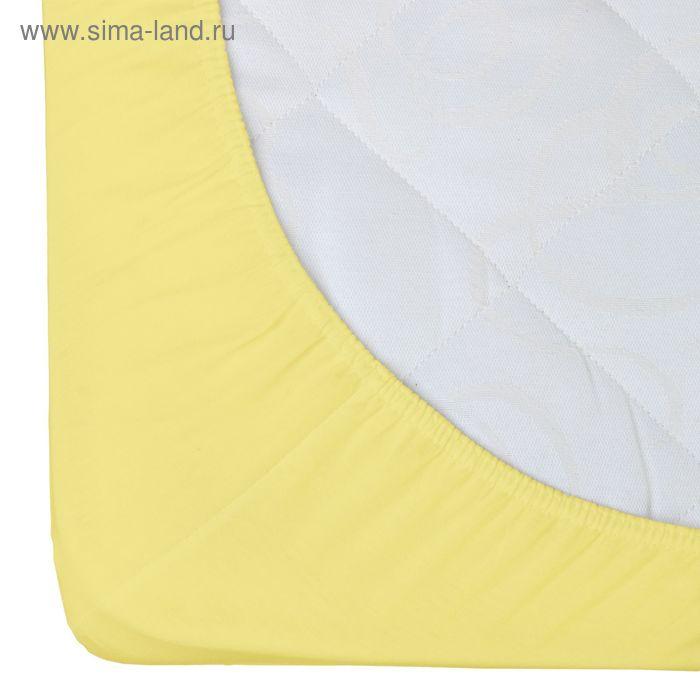 Простыня трикотажная на резинке Гутен Морген, размер 90х200х20 см, 125 гр/м2, цвет лимон
