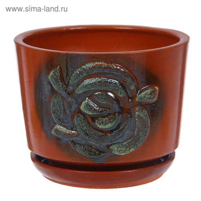 """Кашпо """"Роза"""" коричневое, блёстки 2,5 л"""