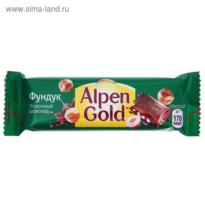 Шоколад Alpen Gold, молочный с дробленым фундуком, 32 г