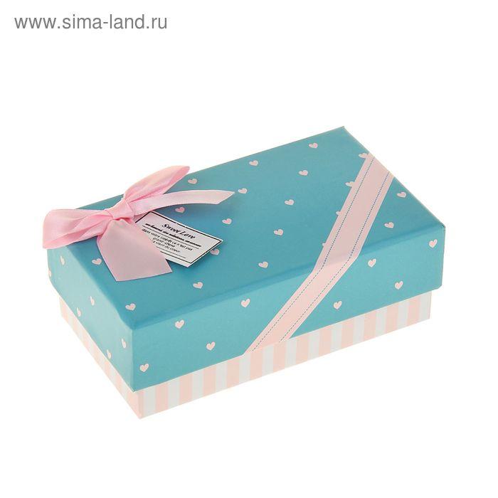 """Коробка подарочная прямоуг 9 х 15,5 х 6 см """"Сердечки"""""""