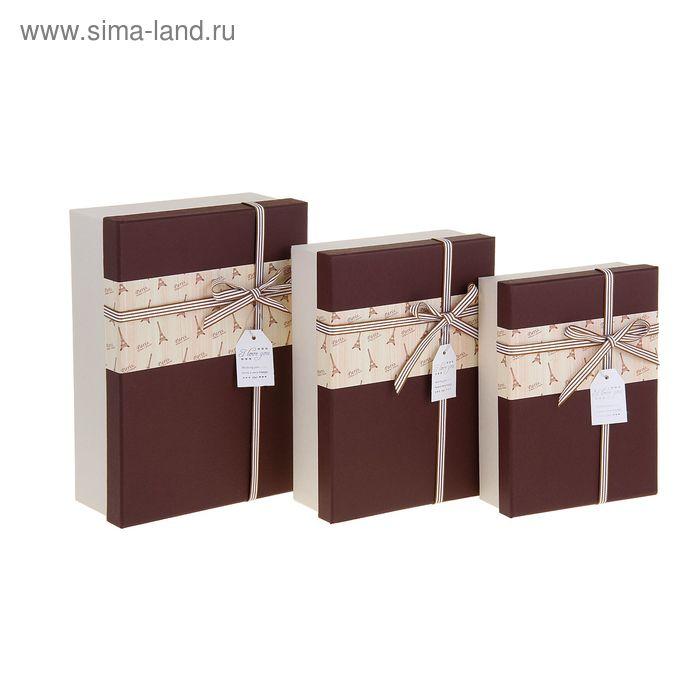 """Набор коробок 3в1 """"Париж"""", цвет коричневый"""