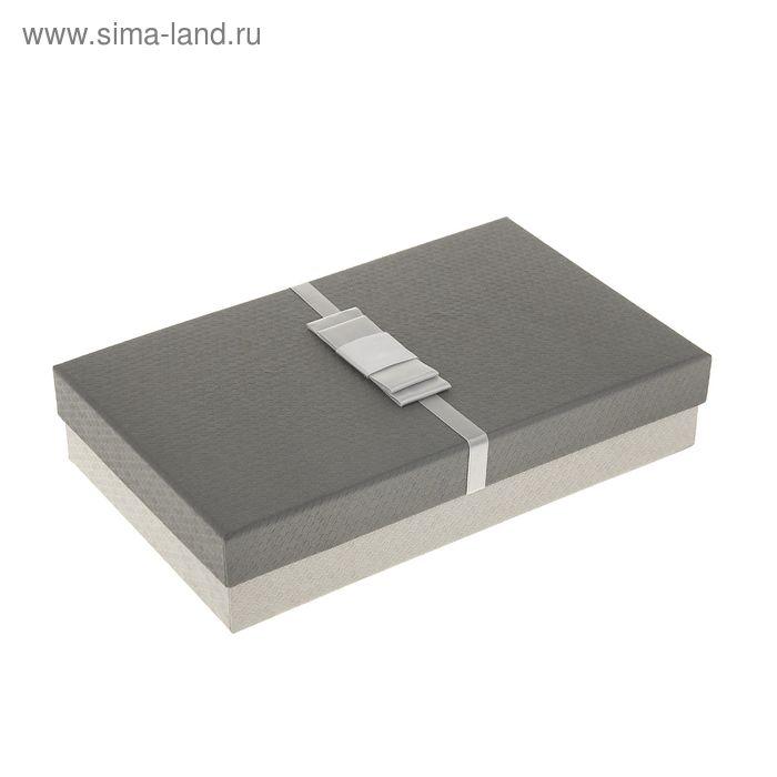 "Коробка подарочная прямоуг 15 х 25,5 х 5,5 см ""Бантик"", цвет серый"