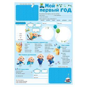 """Плакат для новорожденного с наклейками """"Мой первый год"""", голубой"""