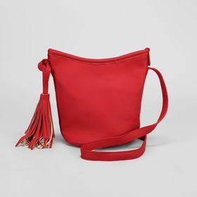 Сумка женская, 1 отдел, длинный ремень, красная
