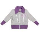 Спортивная куртка для девочки, рост 146 см (76), цвет серый меланж+фиолетовый Д1945-П_Д