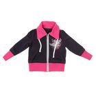 Спортивная куртка для девочки, рост 146 см (76), цвет тёмно-серый/фуксия (арт. Д 1945-П)