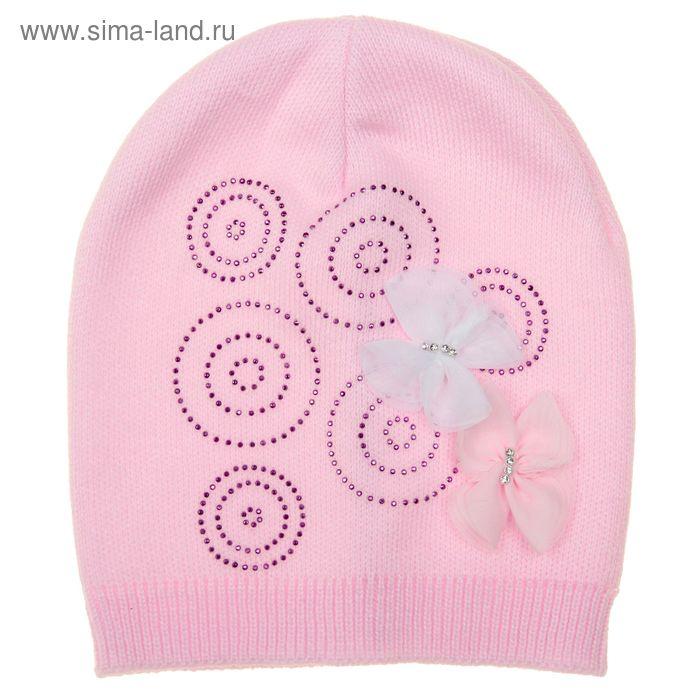 """Шапка для девочки """"Бабочки"""", размер 50-52 (3-5 лет), цвет МИКС"""