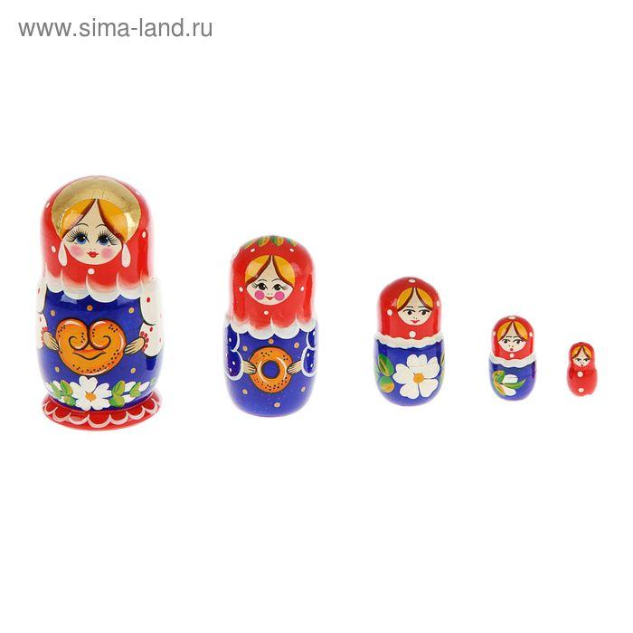 """Матрешка """"Марфуша"""" синее платье,красный платок  5 кукол"""