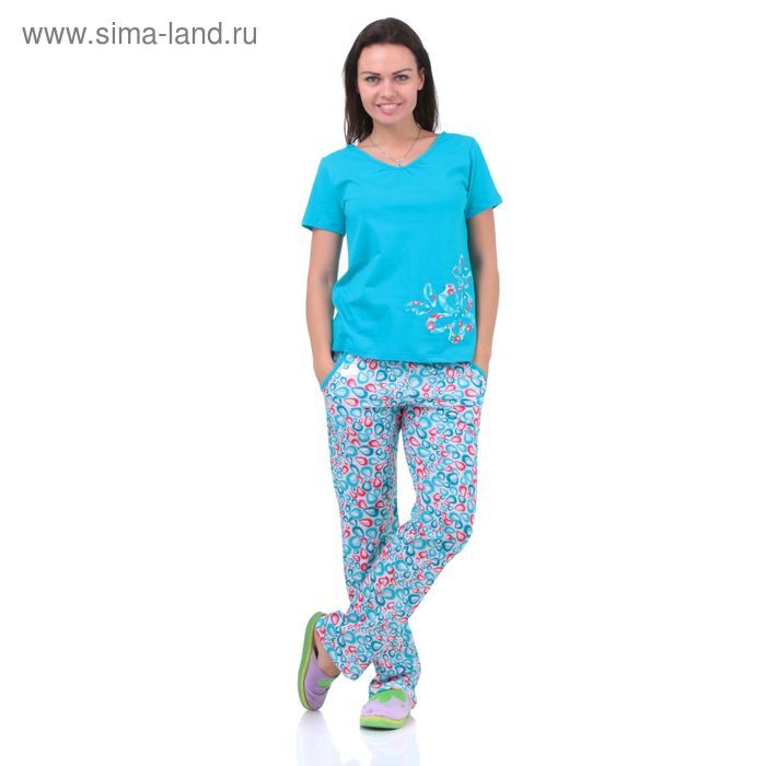 Пижама женская 5513  белый/бон-бон/прохлада, р-р 52 (104-110)
