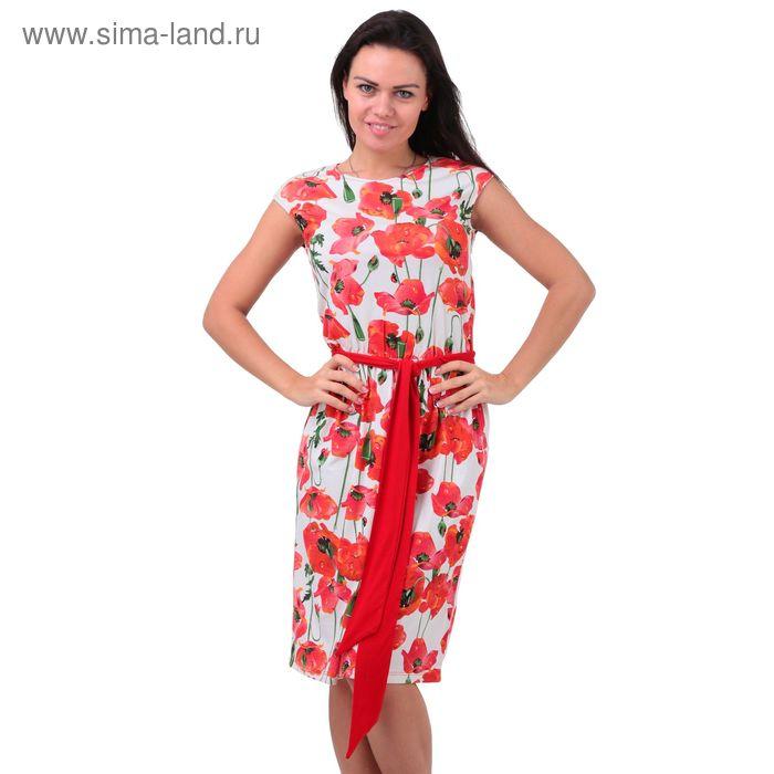 Платье женское 5753 отварка/маки/чили, р-р 48 (96-102)