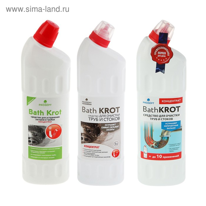 Средство для устранения засоров в трубах Bath Krot, концентрат, 1 л